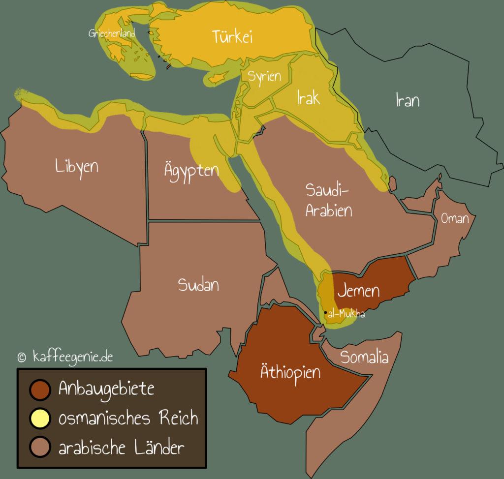 Kaffeekarte Anbaugebiete Jemen und Äthiopien - türkischer Mokka - Cezve - Kaffeekultur - arabisches Reich - osmanisches Reich - al-Mukha - kaffeegenie.de